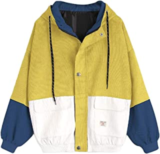 Howely Women BF Style Colorblock Coat Big Pockets Hoodie Varsity Jackets
