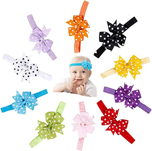 REHTRAD Baby Girl's Bow Headbands, Soft, and Elastic Bow Headband, Suitable for Newborn Infants (Multicolour, Pack of...