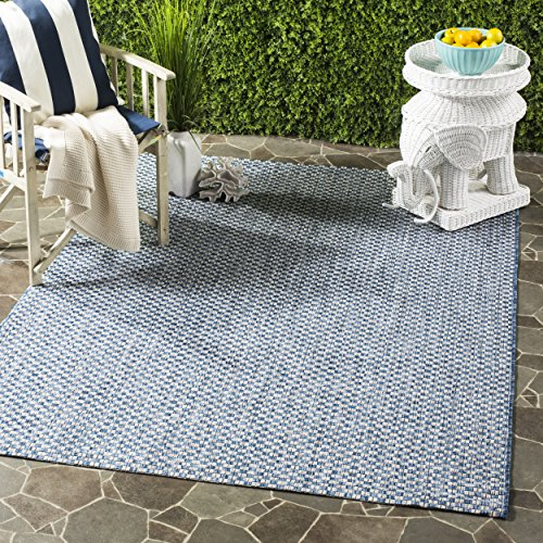 """Safavieh Courtyard Collection CY8653 Indoor/ Outdoor Non-Shedding Stain Resistant Patio Backyard Area Rug, 5'3"""" x 7'7"""", Blue / Light Grey"""