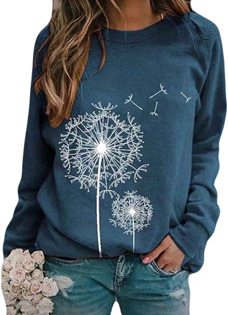 Womens Long Sleeve Tops,Womens Crewneck Sweatshirts Tops Vintage Butterfly Print Plus Size Long Sleeve Pullover Shirts