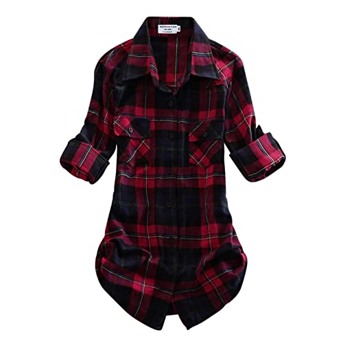 83a73c65e5196 Match Women's Long Sleeve Flannel Plaid Shirt
