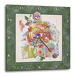 3dRose Image of Autumn Fox, Pumpkin, Flowers, Wagon Wheel Collage. - Wall Clocks (DPP_336155_1)