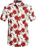 SSLR Camisa de Manga Corta con Estampado de Flores Estilo Hawaiano Moderno de Hombre (Small, Rosa Damasco)