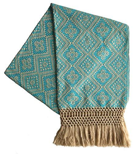 Mexikanischer handgefertigter Rebozo Schal - Blau - Medium