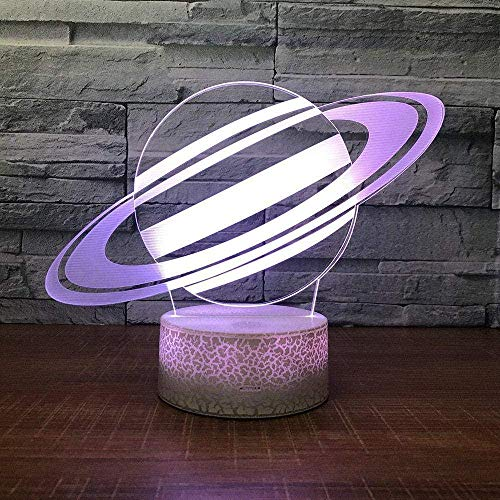 3D Illusion Night Light 7 Color Led Vision Back to School Universe Planet Table Desk Kids White Base Colorful Creative Gift