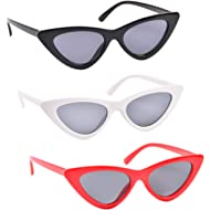 3 Pack Cat Eye Sunglasses for Women Red Black Retro Style Plastic Frame UV Protection