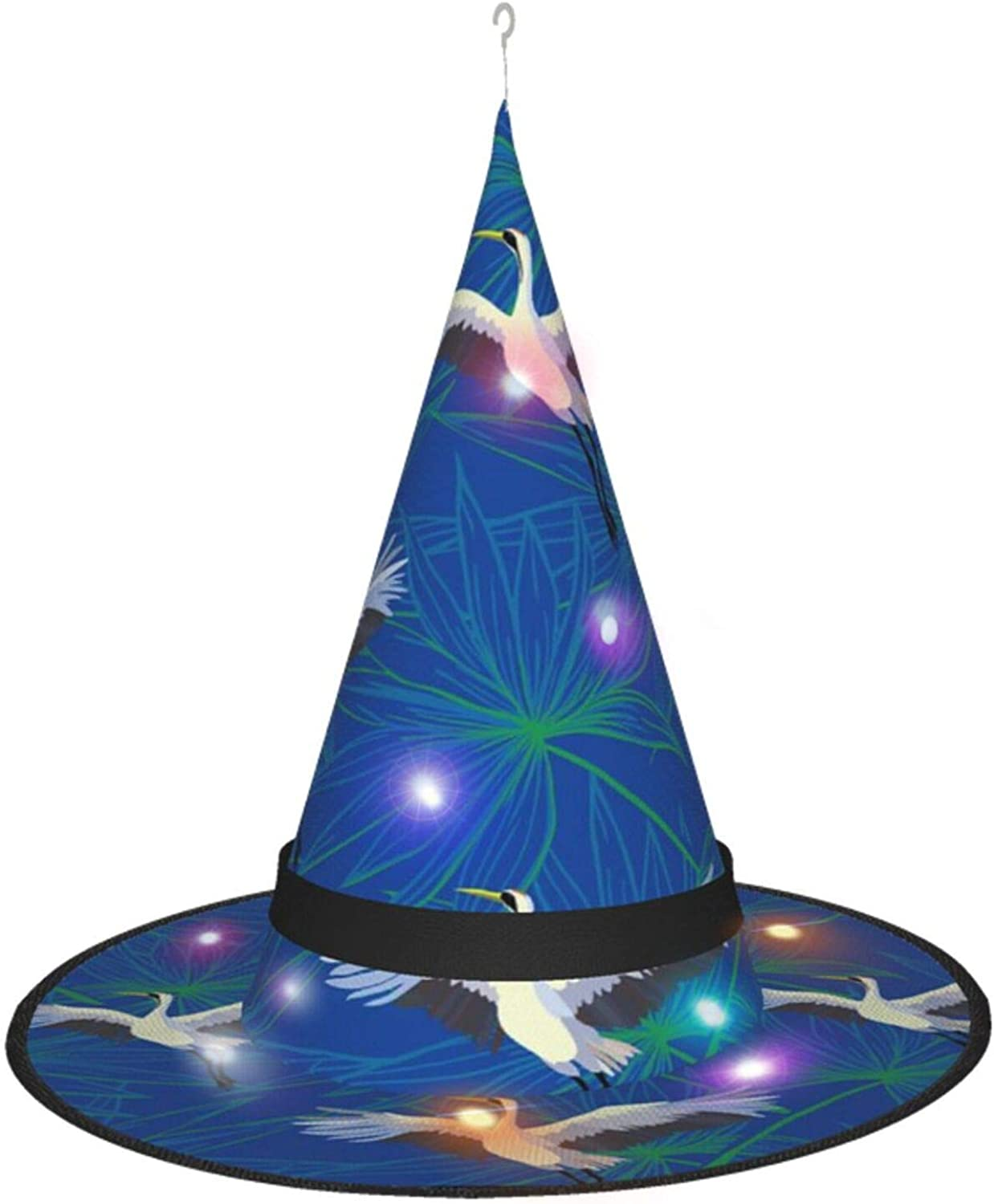 White Crane Blue Fixed price for sale Leaves Halloween fo Hat Costume Accessory Witch store