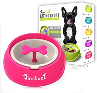 AINAAN Dog Feeder Slow Eating Pet Bowl Eco-Friendly Durable Non-Toxic Preventing Choking Healthy Design, 2019, Pink