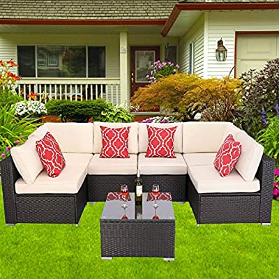 HTTH 7-Piece Outdoor Rattan Wicker Sectional Conversation Sofa Garden Furniture Set Bistro Sets with Coffee Table and 2PC Red Pillow for Porch Poolside Backyard (White)