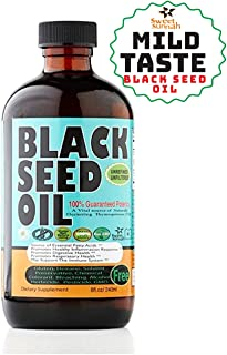 Sweet Sunnah Black Seed Oil Cold Pressed (First Pressing) 8 oz..Non GMO Unrefined & Unfiltered,No Preservatives & Artificial Color - Glass Bottle - Product of USA.