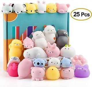 KUUQA 25個フワフワ おもちゃカワイイ かぼちゃ動物パンダ猫 足かわいいミニソフトスクイーズストレス緩和剤ボール 25個