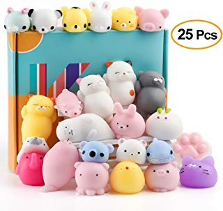 KUUQA 25Pcs Squishy Toys Kawaii Squishies Animals Panda Cat Paw Cute Mini Soft Squeeze Stress Reliever Balls Toys Birthday Party Bag Gifts Favours for Kids