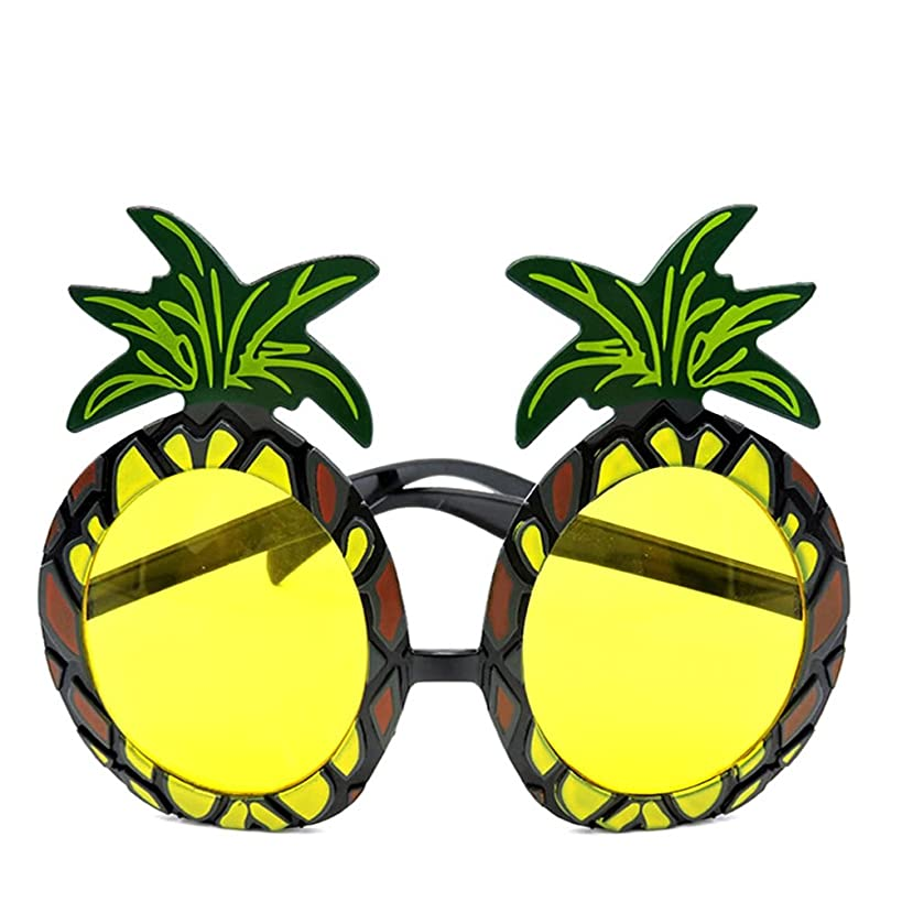 LUOEM Luau Party Eyeglasses Novelty Pineapple Glasses Hawaii Themed Photo Props Party Accessory for Kids and Adult