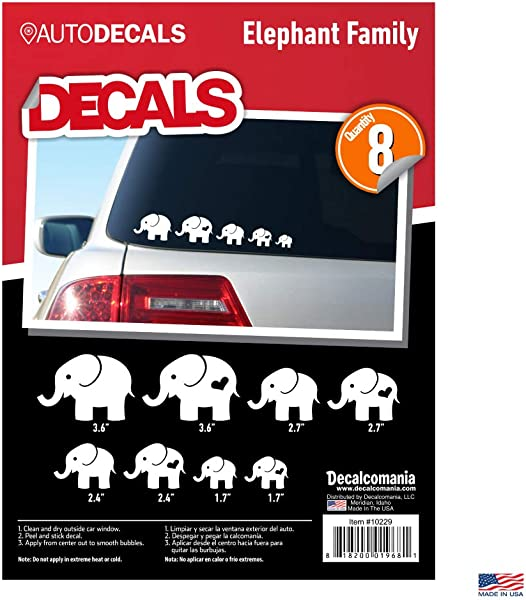 Elephant Family White Car Truck Window Stickers 2 Adults 6 Children 8 Decals Animal