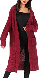 Women Casual Long Sleeve Open Cardigan Knit Long Cardigan Sweater with Pockets