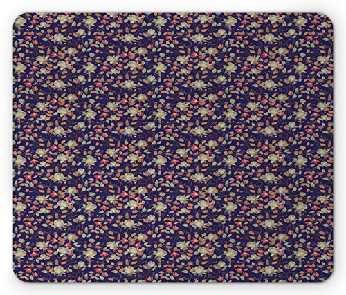 Lunarable Floral Mouse Pad, Magnolia Blooms Branches Leaves Foliage Spring Field Seasonal Flourish, Rectangle Non-Slip Rubber Mousepad, Standard Size, Indigo Pale Green Coral
