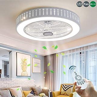 Invisible Ventilador De Techo 80W LED Silencioso Luz De Techo Moderna Lámpara De Techo Con Luz Mando A Distancia Ventilador Plafones Salón Dormitorio Habitación Para Niños Bajo Ruido