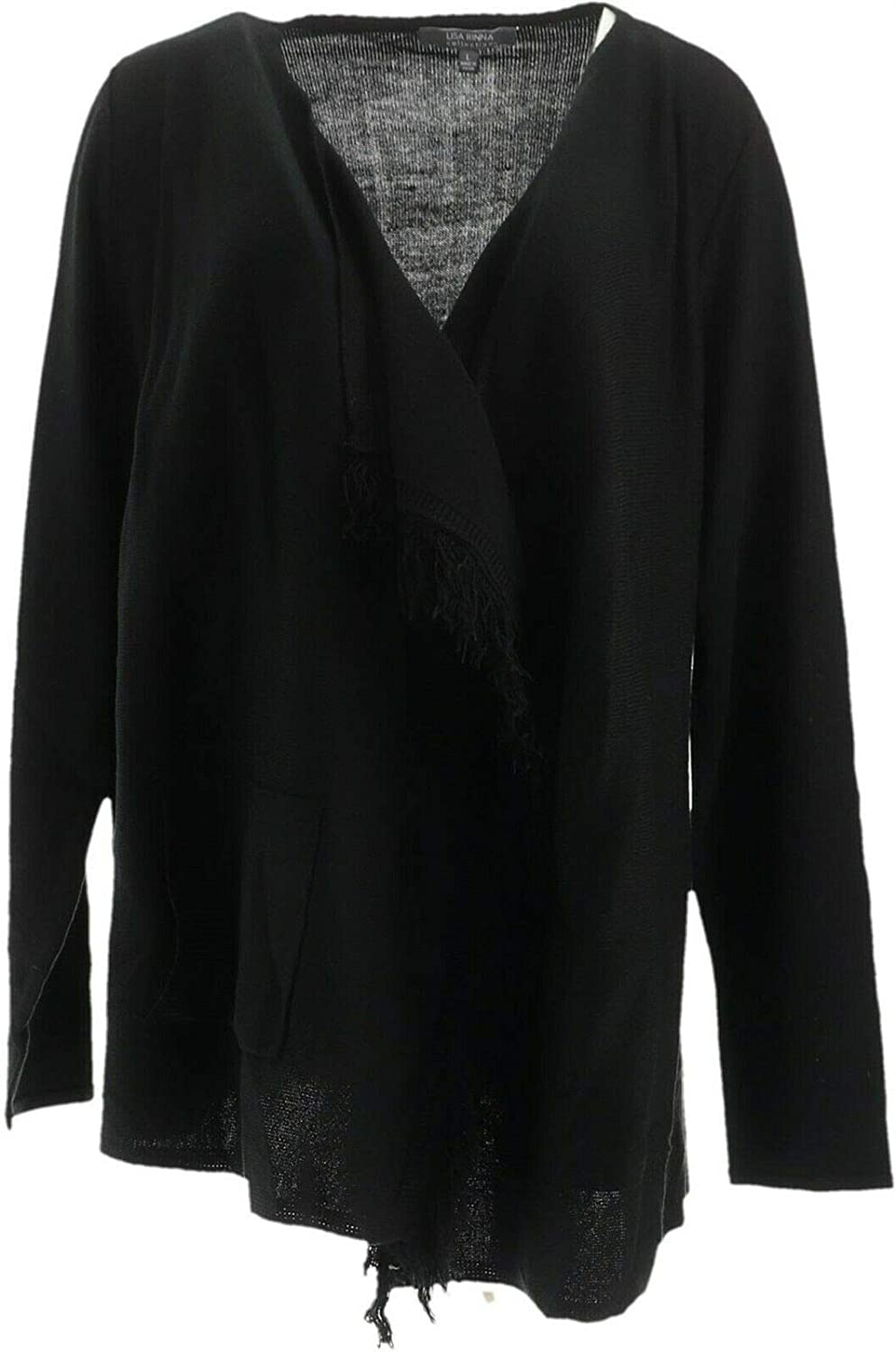 Lisa Rinna Collection Open Front Fringe Cardigan Pockets Black XS New A285570