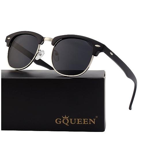 9a23e897f896 GQUEEN Horn Rimmed Half Frame Polarized Sunglasses GQO6