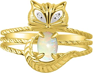 RYLOS CAT Ring with Oval Gemstone & Genuine Sparkling Diamonds in 14K Yellow Gold Plated Silver .925-7X5MM Color Stone