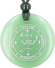 Sigil of The Archangel Michael Magical Amulet Green Quartz Pendant Necklace