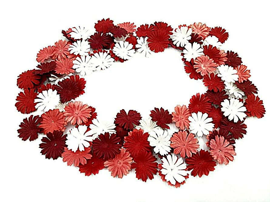 NAVA CHIANGMAI 100 pcs Daisy Mulberry Paper Flower Petals Artificial Craft Scrapbooking Embellishment,Wedding Supply Accessory DIY,Assorted Color Petal Flower (Red)