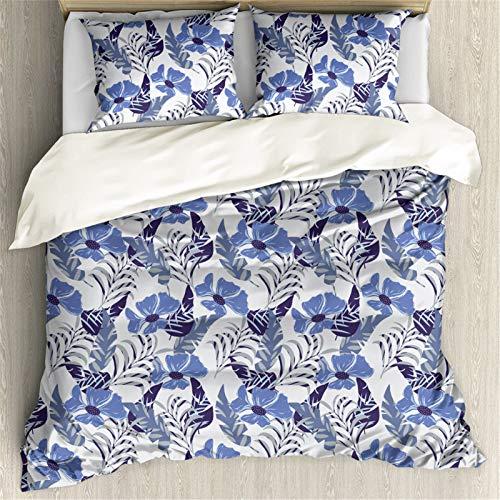 Showudesigns Floral Queen Bettwäsche-Set für Kinder, Mädchen, Frauen, Schlafzimmer, dekorative Tagesdecke, Deckenbezug (1 Bettbezug & 2 Kissenbezüge), Kornblumenblau