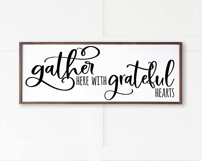 Gather Here with Grateful Translated Hearts Wood Mod Sign Framed OFFer Large