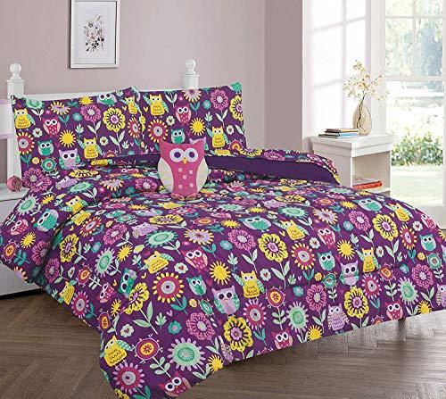 8 Piece Full Size Girls Comforter Set Bed in Bag w/Shams, Sheet Set & Decorative Toy Pillow, Owl Sun Flower Print Purple Rose Pink Girls Kids Comforter Bedding Set w/Sheets,Full 8pc Owl Purple
