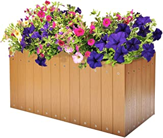 ART TO REAL Large Garden Raised Planters, Outdoor Raised Bed for Flowers Vegetable Herbs, 23.6''L x 12.5''W x 7.9''H(Teak)