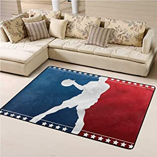 Rugs and Carpets Sports Soft Indoor Mat Decorative Carpet Basketball Player Silhouette 3' x 5' Rectangle