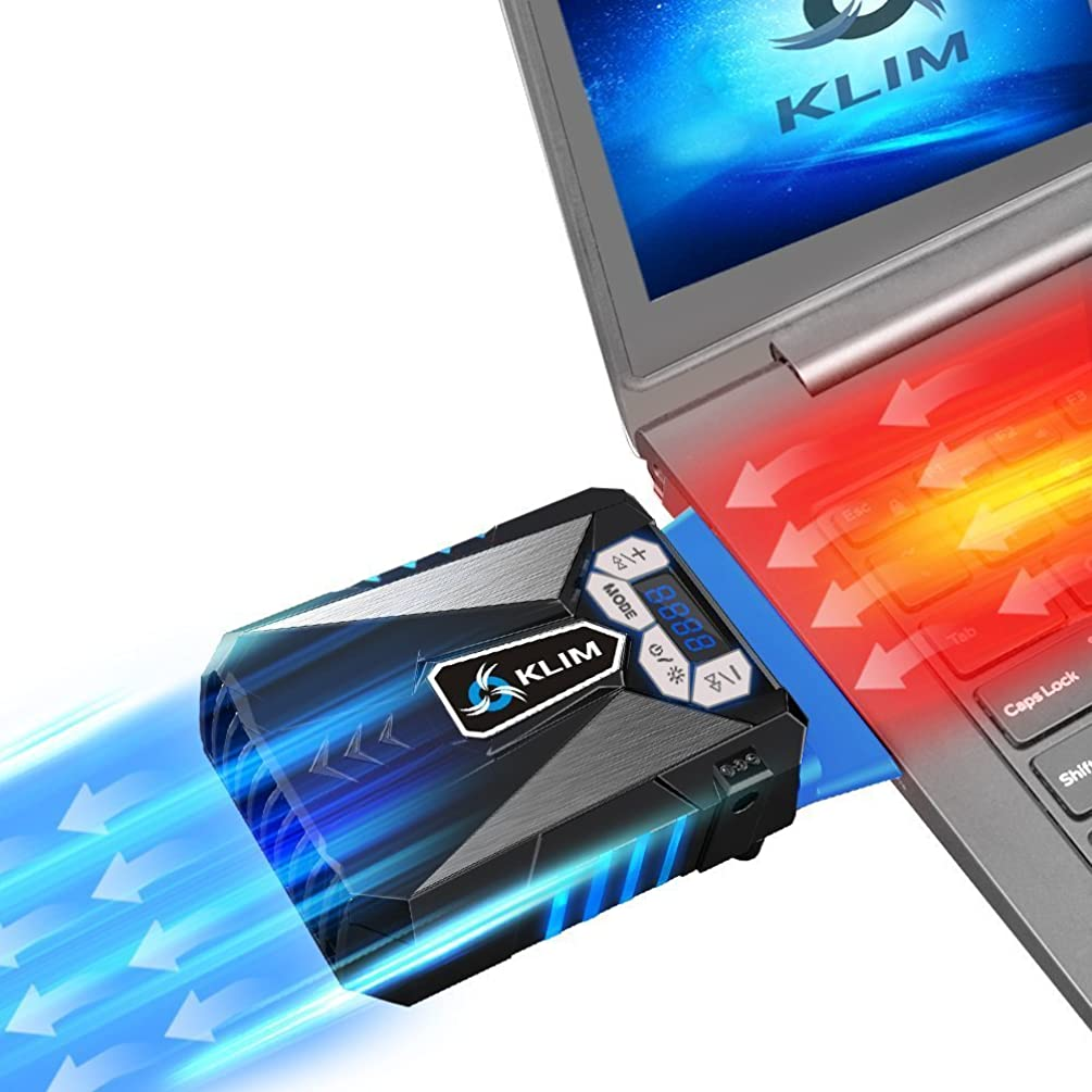 ??Klim Cool Laptop Cooler Fan - Innovative Portable Cooling Design with Display - External Gaming Cooler - High Performance Ventilation - USB Connection - Cooling Pad - Quiet Air Vaccum - Reduce Heat