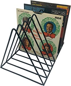 Vinyl Record Storage Holder Stand - Premium Metal Wire Rack holds up to 33 Lp Album Records, Simple, Functional and Contemporary Display Concept Design for 12 inch and 7 inch Vinyl (Black)