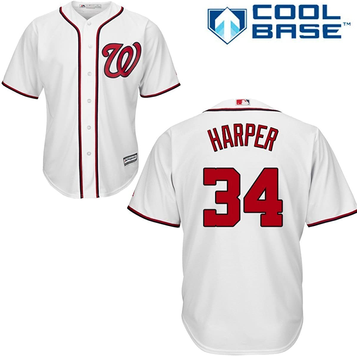Bryce Harper Washington Nationals White MLB Max Regular discount 72% OFF Cool Base Home Youth