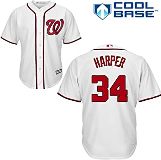 Majestic Bryce Harper Washington Nationals Youth Cool Base Home Jersey (Small)