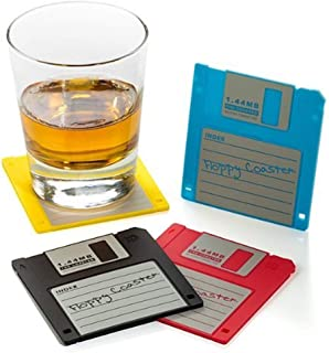 Floppy Disk Retro Silicone Drink Coasters 1.44m Diskette , Tabletop Protection and Prevents Furniture Damage, Set of 6