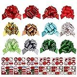 Gifort Noeuds Cadeaux de Noël et Étiquettes Autocollants Cadeaux, 12x Nœuds et Rubans décoratifs avec 90x Cadeau...