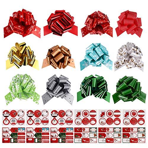 Gifort Christmas Ribbons Lazos para Envolver Regalos, cestas, decoración de Botellas de Vino, Papel de Regalo y decoración Presente (24 Piezas)