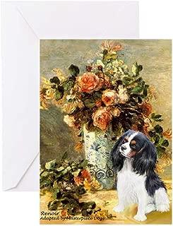 CafePress Flowers & Tri Cavalier Greeting Card, Note Card, Birthday Card, Blank Inside Glossy