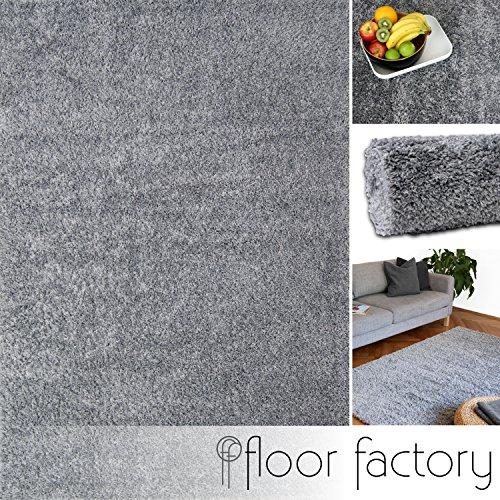 floor factory Hochflor Shaggy Teppich Colors Silber/grau 120x170cm - pflegeleichter und günstiger Langflorteppich