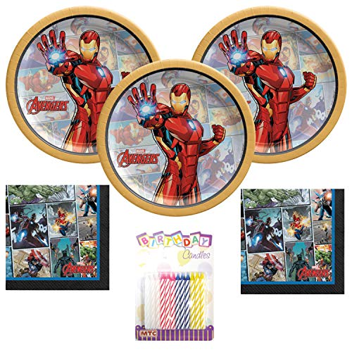 Iron Man Party Supplies Pack Serves 16: Dessert Plates and Napkins With Birthday Candles (Bundle for 16)