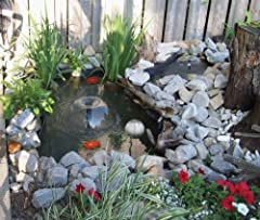 Includes a 8-feet by 10-feet Non Toxic Pond Liner. Includes a 200 gph Filter Free Pump with protective shell Includes 2 fountain heads, diverter & telescopic riser Includes 2 silk water lilies Includes installation instruction