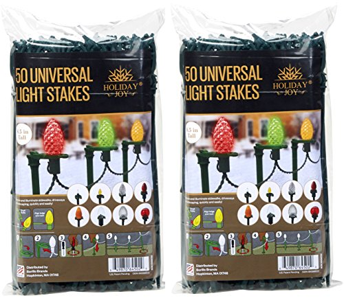Holiday Joy Universal Light Lawn Stakes for Holiday String Lights on Yards, Driveways & Pathways - 8.5 inch Tall - New and Improved Model (100 Pack)
