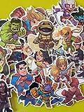 ND_Lot de 50 Autocollants aléatoire Marvel The Avengers en Vinyle pour Ordinateur, Skate,...