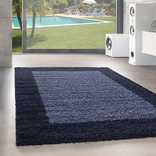 Unbekannt Shaggy Hochflor Langflor Bordüre Teppich Wohnzimmer Carpet Farben & Größen, Größe:60x110 cm, Farbe:Marineblau