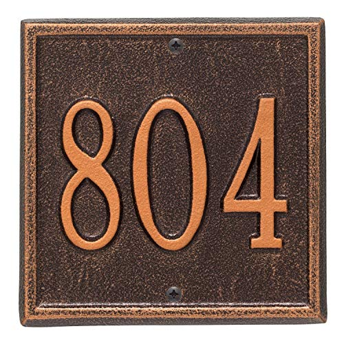 Whitehall Personalized Cast Metal Address Plaque - Square 6  x 6  House Number Sign - Allows Special Characters - Antique Copper