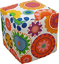 PLAFUETO Canvas Ottoman Cover Square Ottoman Slipcover Cotton Footstool Protector Storage Ottoman Covers Furniture Protect...