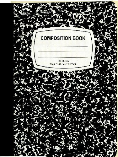 Composition Book Wide-Ruled Notebook with 100 Sheets, Black Marble by Marble Composition