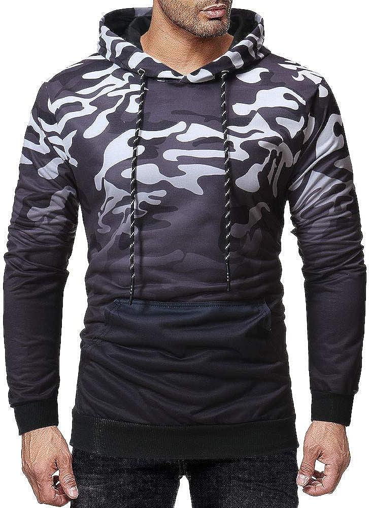 Misaky Hoodies for Men Autumn Winter Leisure Sports Camouflage Print Pocket Long Sleeve Hooded Sweatshirt Tops