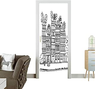 3D Photo Door Murals Sketchy Hand Drawn Cartoon House Apartment Trees Kids Nursery Room Black and White Easy to Clean and applyW30 x H80 INCH